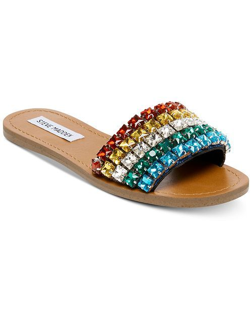 good store fast delivery Steve Madden Serenade Rainbow Jeweled Slides - Sandals & Flip ...