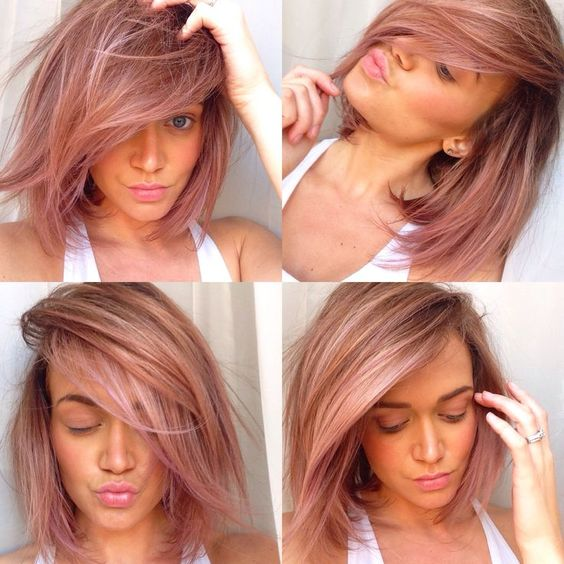 Pink/lavender tint to dirty blonde hair with balayage highlights.. Instagram, froufrou412