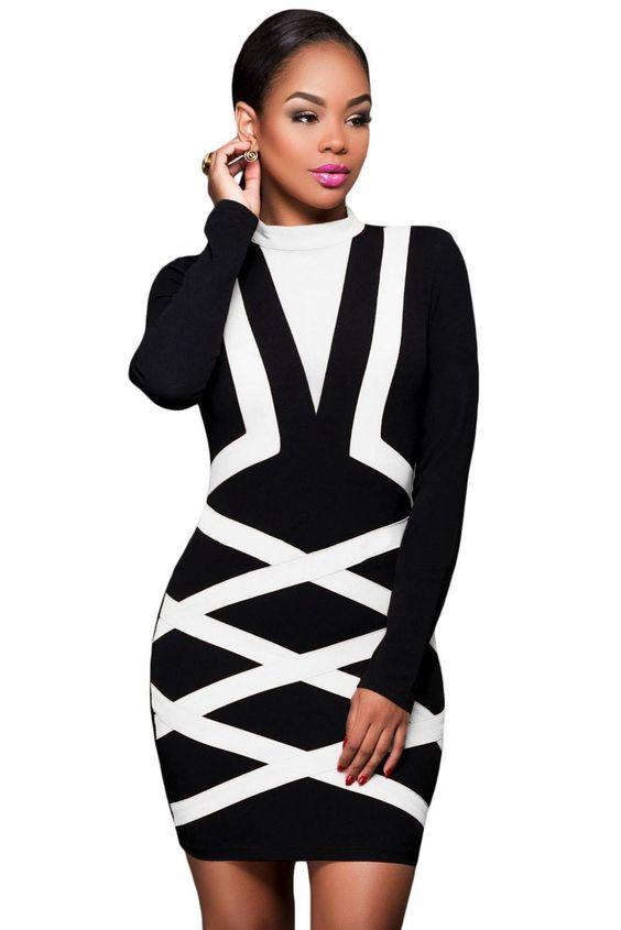Autumn winter Dress Vestidos Contrast Blue Accent Long Sleeve Little Black Bodycon mini Dress To Party