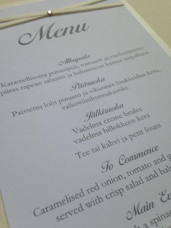 Elegant ribbon trim wedding menu from www.sew-unique.co.uk