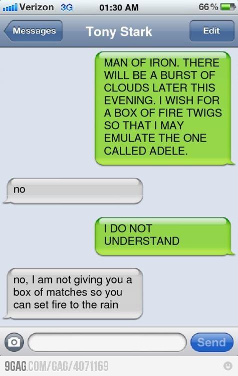 Thor texting Iron Man