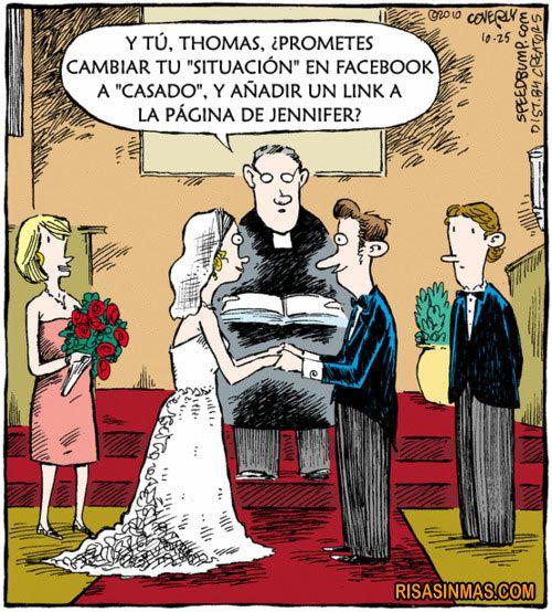"""""""Y tú, Thomas, ¿Prometes cambiar tu """"situación"""" en facebook a """"casado"""", y añadir un link a la página de Jennifer?"""""""