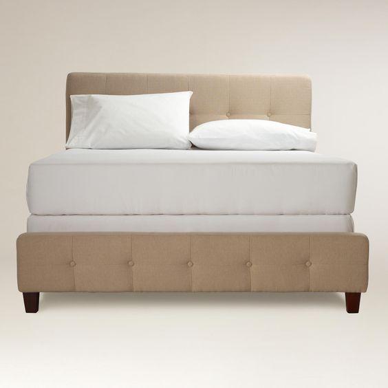 Oatmeal Draper Upholstered Bed | World Market
