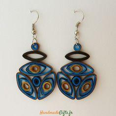 Bijoux en papier selon quilling art design unique : handmade paper earrings