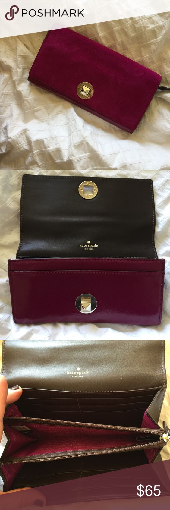 Kate spade wallet Brand new never used Kate spade purple/fuscia suede wallet. Lots of compartments for cards, cash, coins. Soft suede in perfect condition. Selling matching purse as well. kate spade Bags Wallets