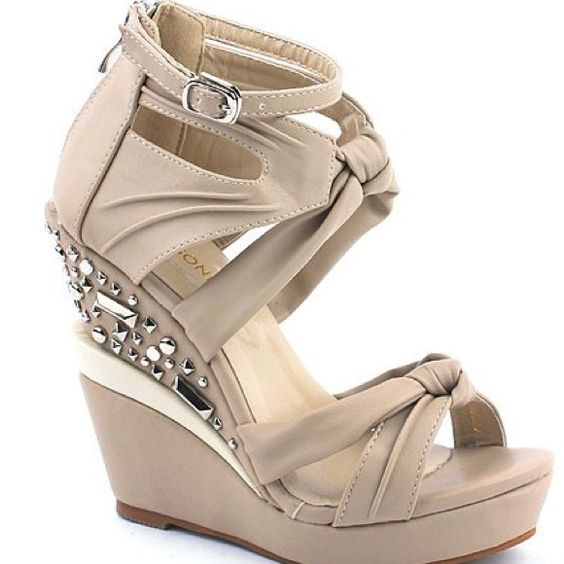 Shoesone Shoes - Silver Jeweled Wedges