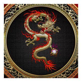 [150] Goldener chinesischer Drache Fucanglong Poster
