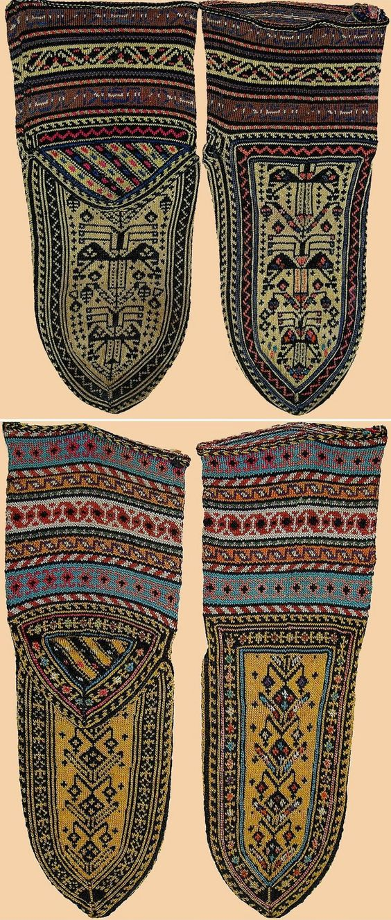 Silk socks for women.  From Iranian Kurdistan, 19th century.