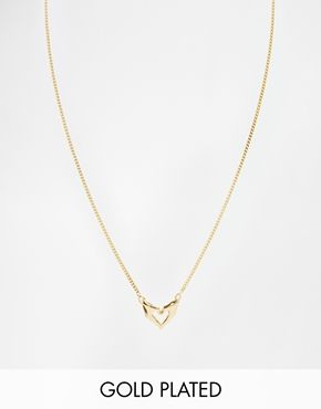 Bill Skinner Gold Plated Heart & Hands Pendant Necklace