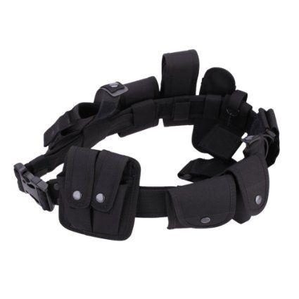 Lixada Taktische Gewehrriemen Polizei Security Guard Ausrüstung Pflicht Utility Kit Belt mit Beutel System Holster Outdoor Training schwarz