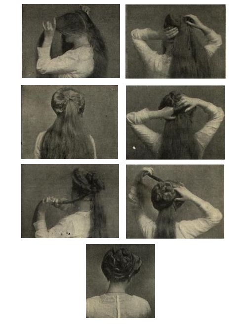 Gibson girl hair to-do - Recamier Coiffure.From Girls Own Paper and Womans magazine, 1911. Text instructions here.