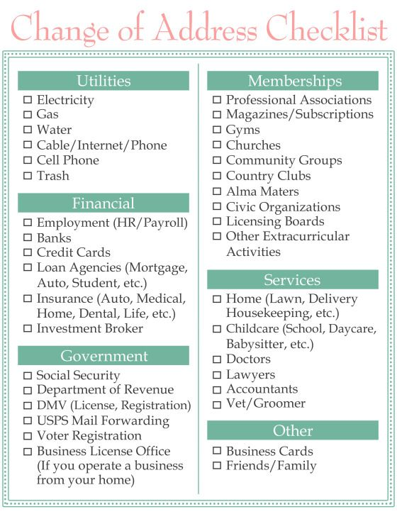 Moving Change of Address Checklist www.homesweetlifeblog.com