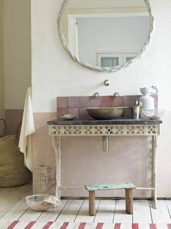 Reforma Baño Rustico:reforma baño, estilo rústico, mueble de forja con encimera de