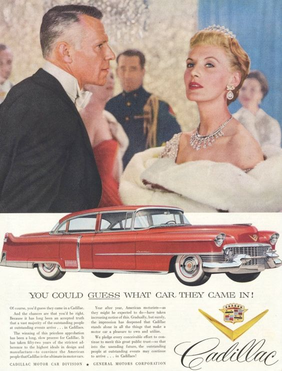 1954 Cadillac Car Ad Red Retro Automobile Vintage Advertising Art Print Wall Decor