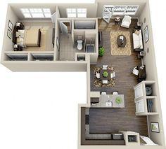 Este apartamento em forma de L oferece uma cozinha e pequeno-almoço espaçoso bar, muitas janelas, armários grandes na cama e banho, além de um pequeno pátio. E oh, essas madeiras!  Crescente Cameron Vila