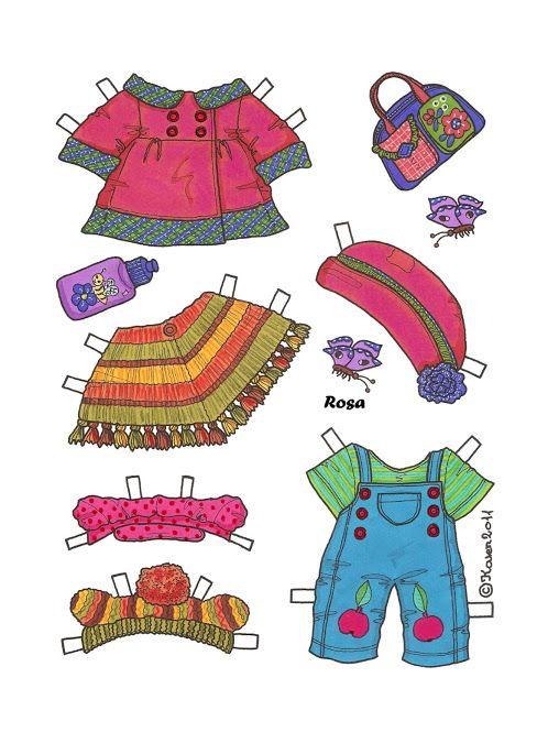 Bamser og dukker i farver. Påklædningsdukker. Bears and Dolls. Paper Dolls in colours.