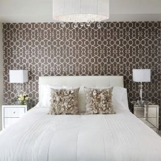 Great wallpaper print with white furniture