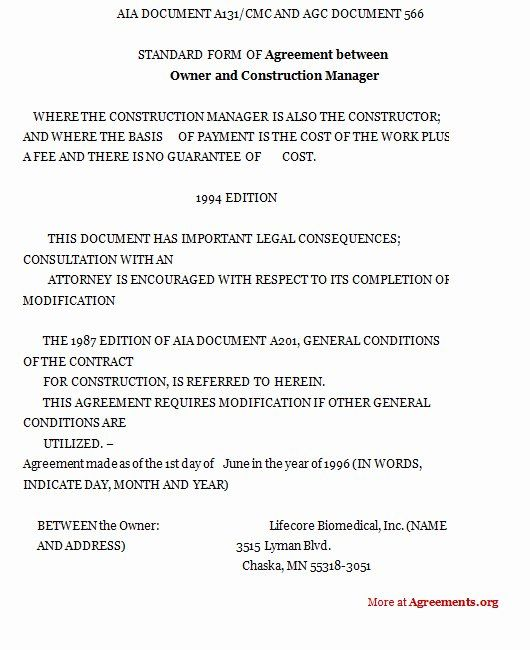 Construction Management Contract Template In 2020 Word Template