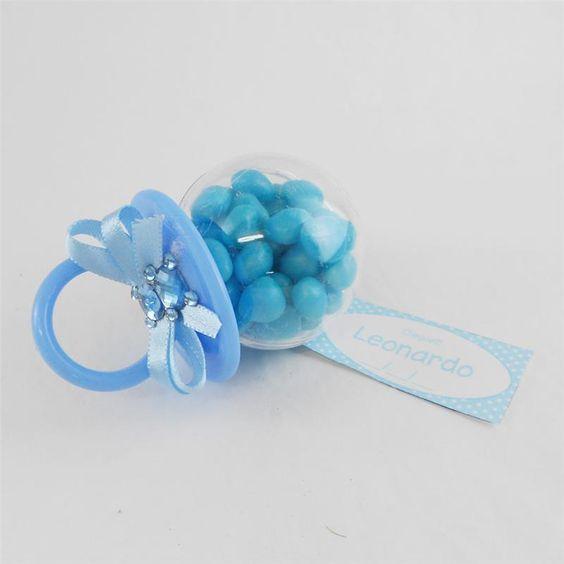 Lembrancinha de Maternidade e Chá de Bebê Chupeta Acrílica Azul com Balas: Lembrancinhas de Maternidade