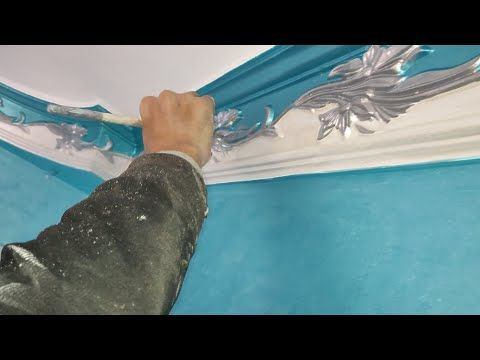 Great Decoration For Gypsum Works Using Metallic Paint Youtube Painting Metallic Paint Decor