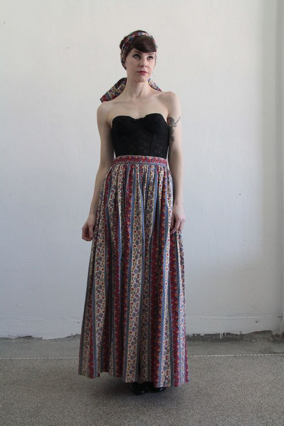 RESERVED Vintage Skirt and Scarf . Folk Print . 1960s Boho Maxi . Matching Sash. $75.00, via Etsy.