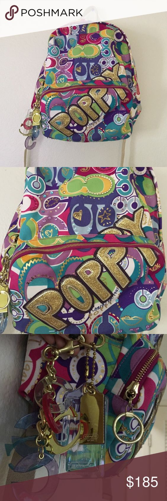 Limited edition Coach Poppy backpack Limited Edition! Coach poppy backpack! Brand new never used. Excellent condition. External coach keychain attached also! Coach Bags Backpacks