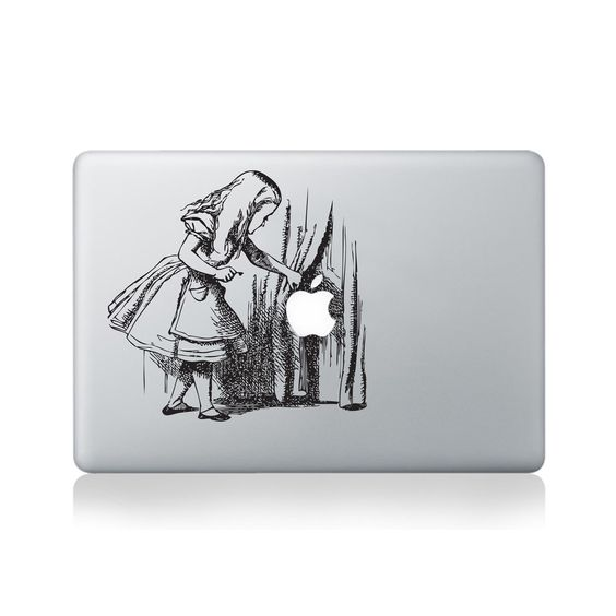Curtains Ideas alice in wonderland curtains : Alice Searching Behind the Curtains Vinyl Sticker for Macbook (13 ...