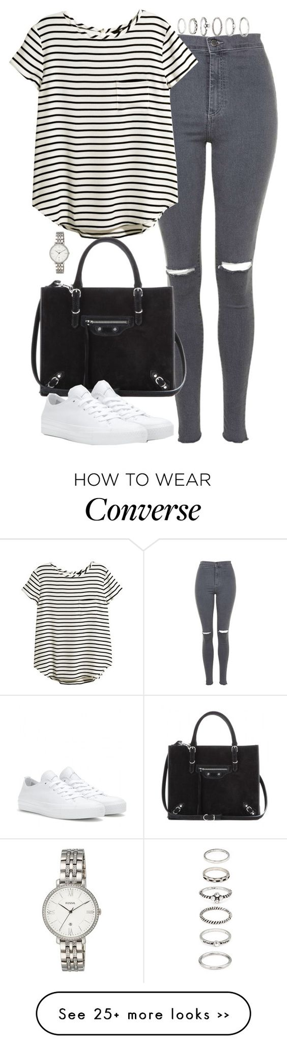 """""""Untitled #4822"""" by eleanorsclosettt on Polyvore featuring Topshop, H&M, Balenciaga, Forever 21, Converse and FOSSIL"""