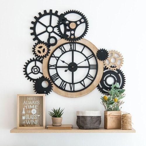 Horloge à Rouages 79x68 En 2019 Décoration Loft Horloge