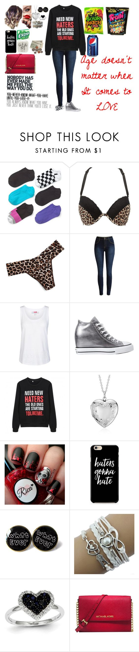 """""""Age doesn't matter,love does"""" by haleyparis ❤ liked on Polyvore featuring Hue, Charlotte Russe, Hanky Panky, adidas, Converse, Blue Nile, Kevin Jewelers, Michael Kors and plus size clothing"""