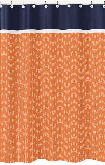 Navy Blue and Orange Arrow Print Bathroom Fabric Bath Shower Curtain