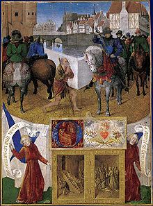 St Martin of Tours.The Charity of St Martin by Jean Fouquet.