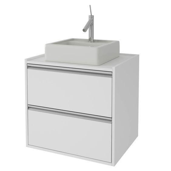 Balcão para Banheiro BBN 04-06 BRV Móveis (Acompanha Cuba) Branco