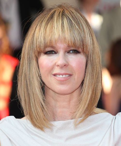 Brilliant Full Fringe Medium Hairstyles Inspired From Kate Garraway Medium Hair Styles Hair Styles Bob Hairstyles For Thick