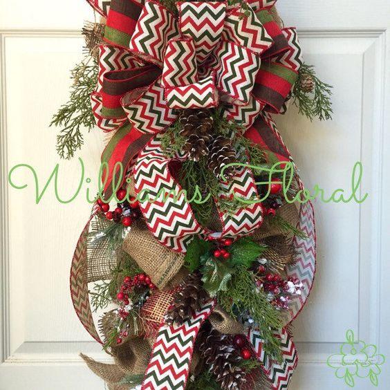 Christmas swag country swag wreath christmas wreath for Burlap christmas curtains