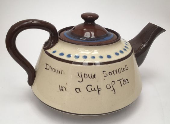Vintage Devon Motto Ware Royal Watcombe Torquay Pottery Tea pot teapot 'Drown your sorrows in a cup of tea' by ArthursTreasureChest on Etsy
