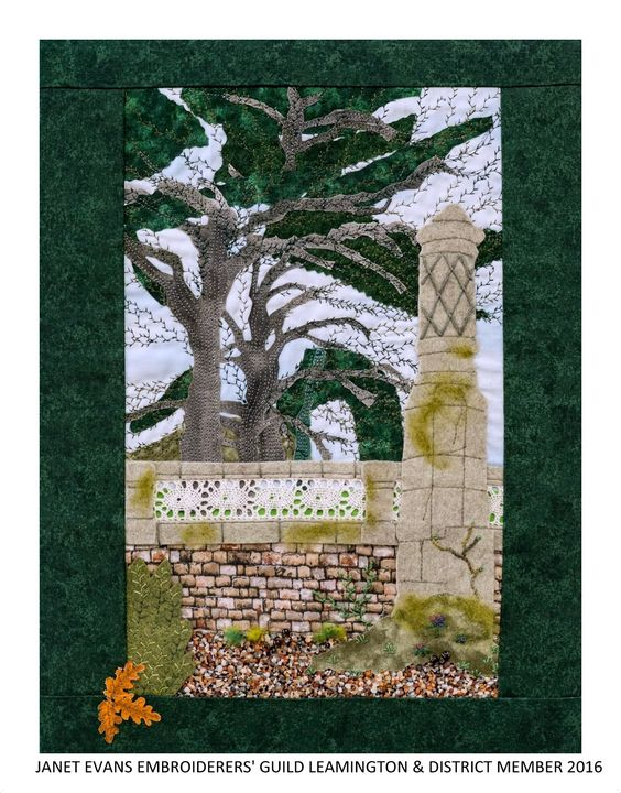 """A Glimpse of Cedars"" by Janet Evans, Embroiderers' Guild member Leamington Spa branch. Shown as part of the Landscapes of Capability Brown exhibition at Charlecote Park 17 March - 30 October 2016. Exhibition held as part of the UK's Capability Brown Festival"