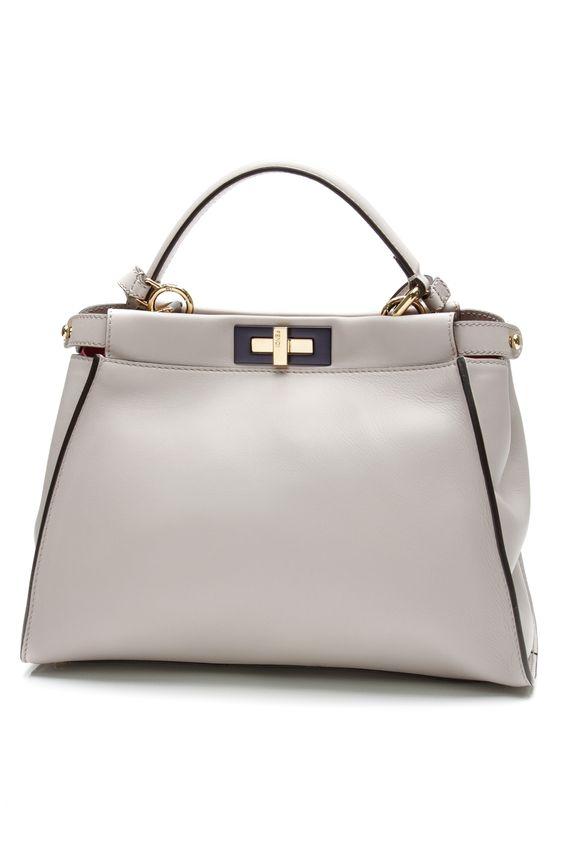 fendi taupe leather medium peekaboo satchel bag