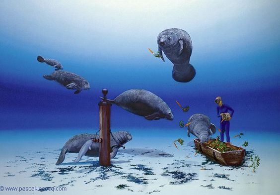 CARROTS BAR - oil on canvas by Pascal Lecocq The Painter of Blue  61x92cm 24x36 2002 lec628 private coll. USA pascal lecocq #manatee #art #blue #painterofblue #painting #painter #artist #contemporaryartcurator #artstack #artisticallysocial #artcartridge #