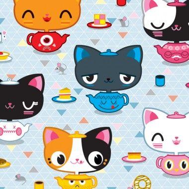 'Tea Kittens' print by Peskimo
