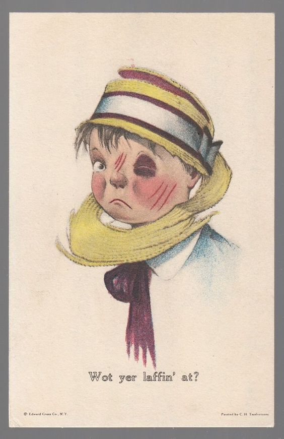 "Old Postcard C.H. Twelvetrees Artist Signed ""Wot yer laffin' at?"" Comic No. 21"