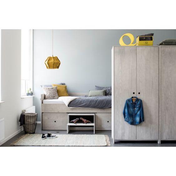 Coming Kids Timber Bedbank 90 x 200 cm - Zijdegrijs