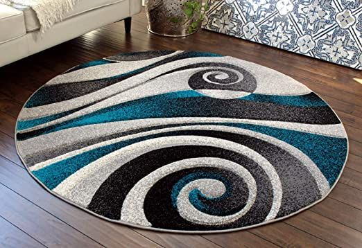 Masada Rugs Grey Black White Turquoise Modern Woven Area Rug Hand Carved 5 Feet 6 Inch X 5 Feet 6 Inch Round Turquois In 2020 Contemporary Area Rugs Area Rugs Rugs