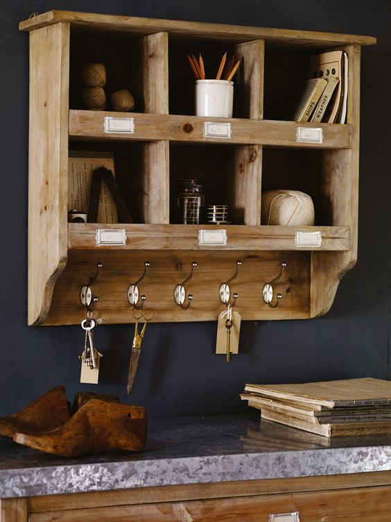 Wooden Box Unit with Hooks     Cox & Cox