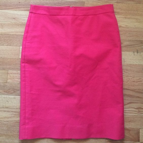 """JCrew No. 2 Pencil Skirt in Nantucket Red JCrew No. 2 Pencil Skirt in Nantucket Red. A couple loose stitches near the slit (see pictures). Great skirt! No longer fits me. Skirt is fully lined. 23"""" long J. Crew Skirts Pencil"""