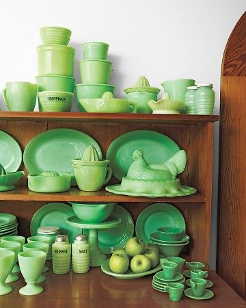 Before there was Tupperware there was Jadeite.  During the depression when housewives couldn't afford to waste a crumb glassware manufacturers turned out inexpensive jadeite with flat lids for storing and stacking all manner of ingredients.  This pin is from Martha Stewart's collection of jadeite.  #lifeinstyle & #greenwithenvy: