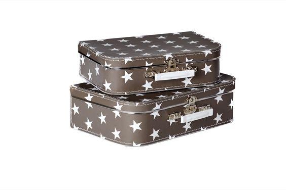 FIBREBOARD Suitcases, 2er Set dunkelgrau mit Sternen 35x23x10cm & 30x20,5x8,5cm