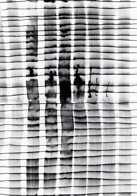 Monochrome Mark Making - inky print design; black & white pattern // Emilio Nanni