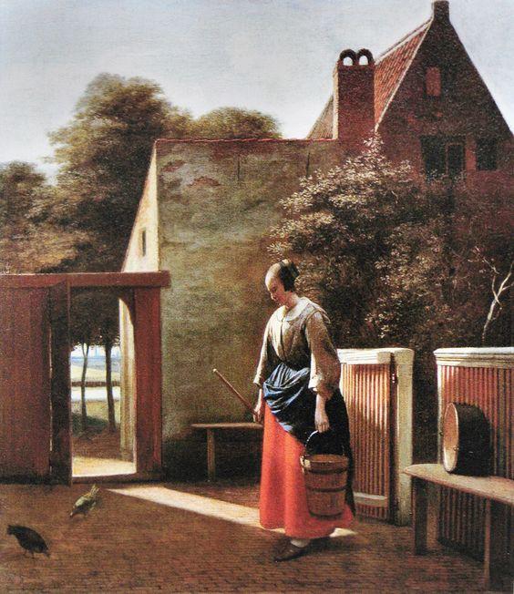 """СЛУЖАНКА С ВЕДРОМ ВО ДВОРЕ"". 1660 г. Питер де Хох"