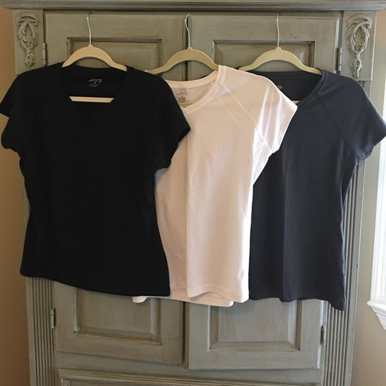 Workout Tops Polyester and spandex workout tops. Excellent condition. Black, white and charcoal. Tops